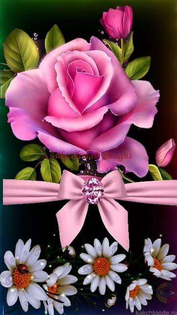 Дорогой подруге самая красивая открытка с розами, ромашками и розовым бантиком. На телефон открытки подруге на сайте kakchtogde.ru