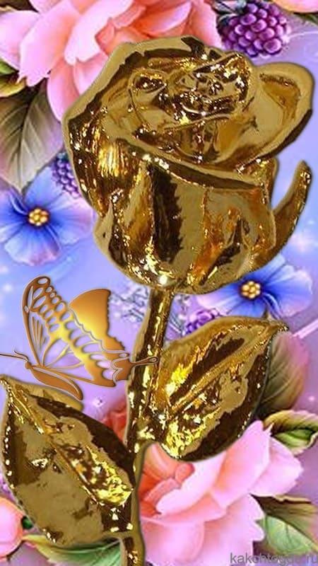 Открытка Золотая роза  вертикальнаяна на телефон и смартфон для любого события и пожелания
